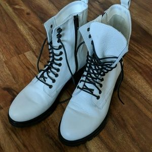 Urban Outfitters White Hiker Boots